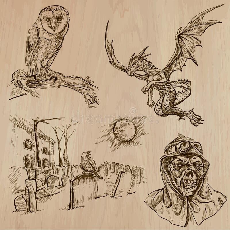 Halloween, monstres, magie - dirigez la collection illustration libre de droits