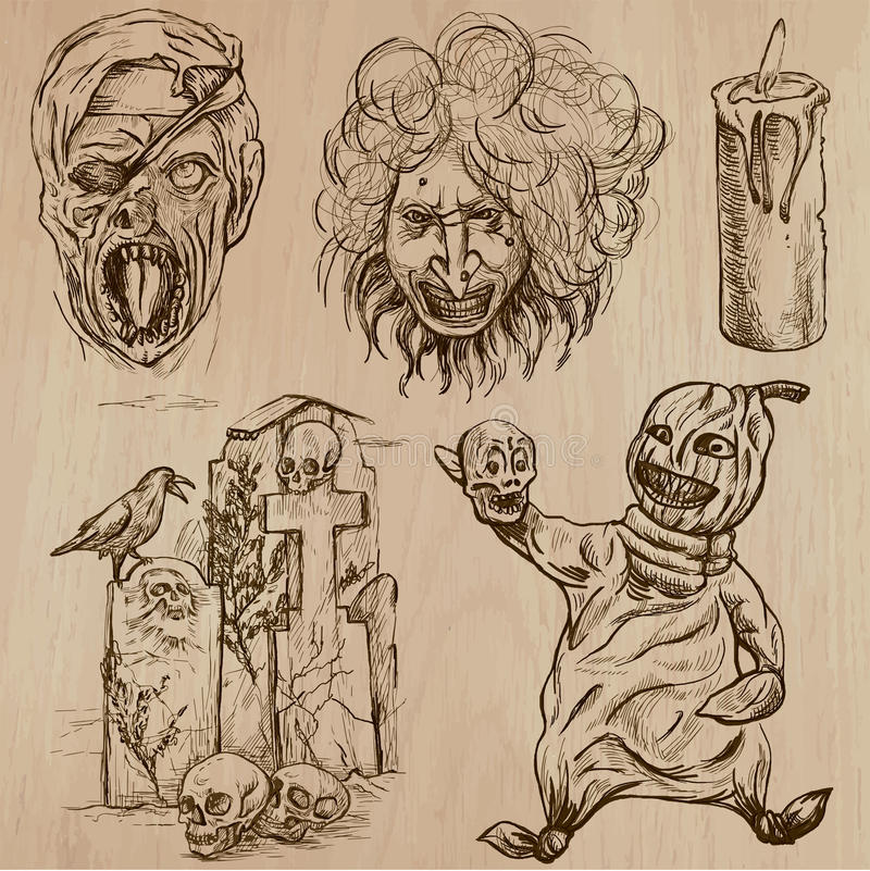 Halloween, monstres, magie - dirigez la collection illustration stock
