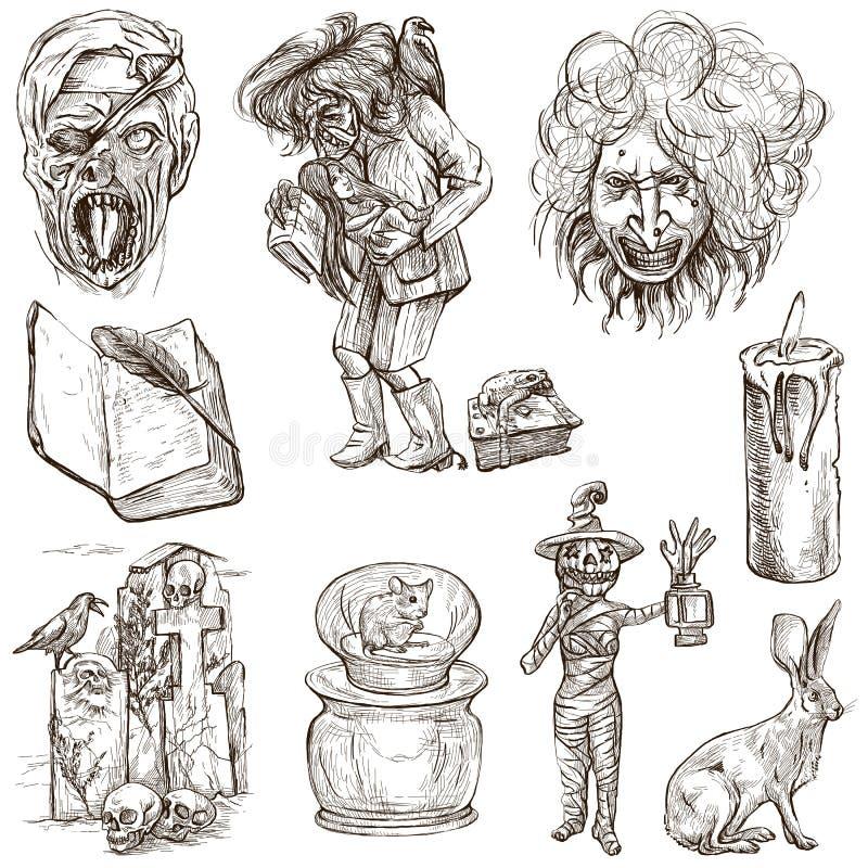 Halloween, monstruos, magia - dé el paquete exhausto en blanco libre illustration