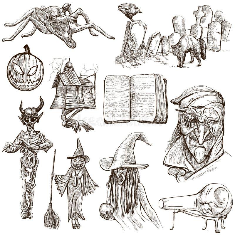 Halloween, monstruos, magia - dé el paquete exhausto en blanco ilustración del vector