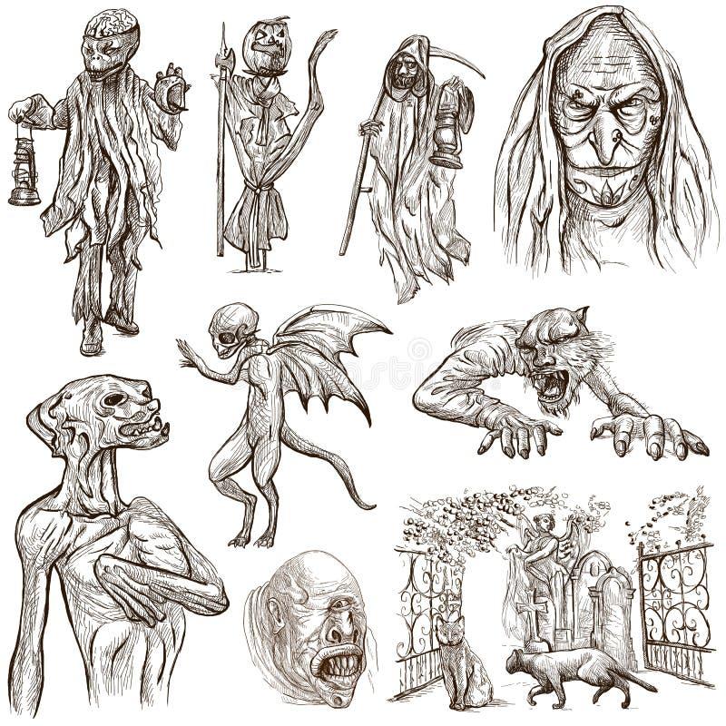 Halloween, monstruos, magia - dé el paquete exhausto en blanco stock de ilustración