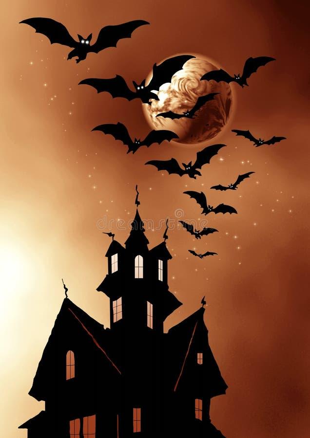 Halloween.Moon, maison et 'bat'. illustration de vecteur