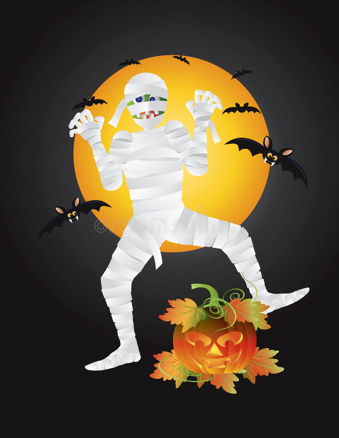 Free Halloween Mummy Carved Pumpkin Illustration Stock Image - 34083281