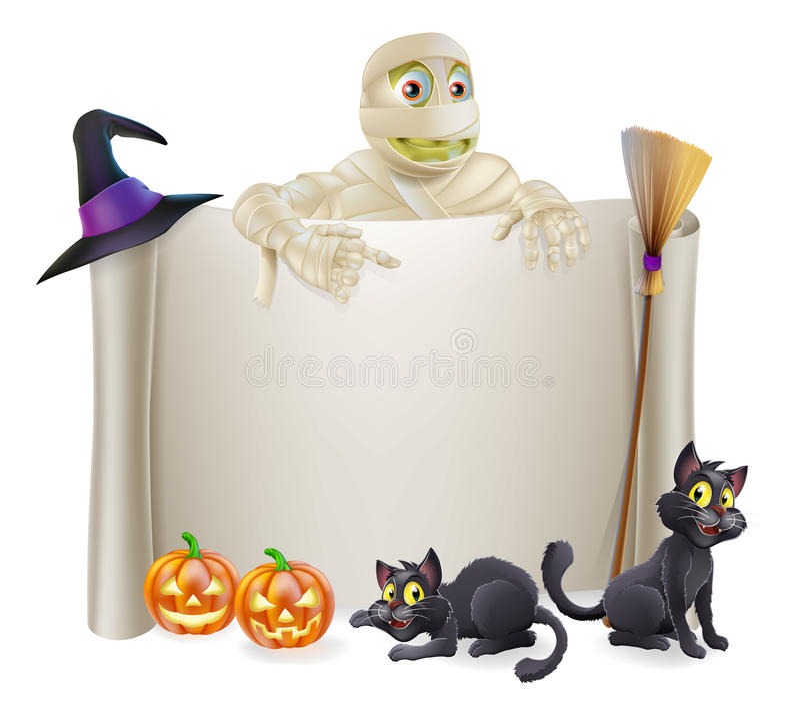 Halloween Mummy Scroll Sign vector illustration
