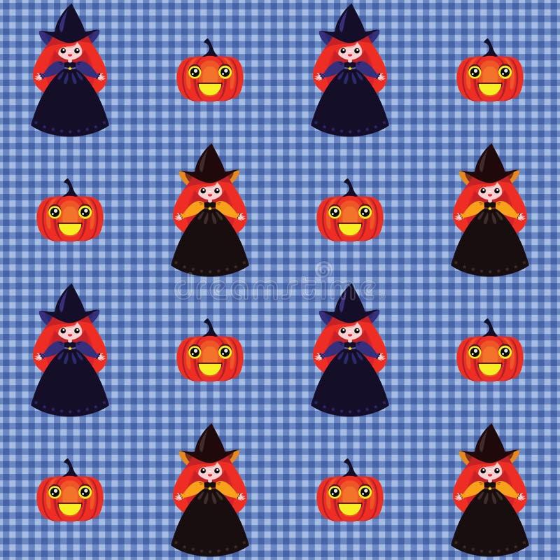 Halloween-Muster mit Hexen und Kürbisen stock abbildung