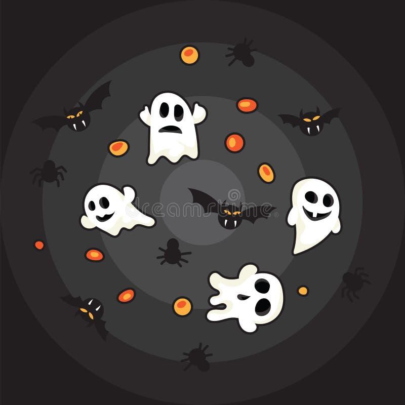 Halloween-Musterschwarzschläger, weißer Geist und orange Kürbis auf schwarzem Hintergrund lizenzfreie abbildung