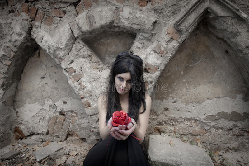 Halloween Mysterious Dressed Gothic Woman. Mysterious woman dressed in black gothic dress stock images