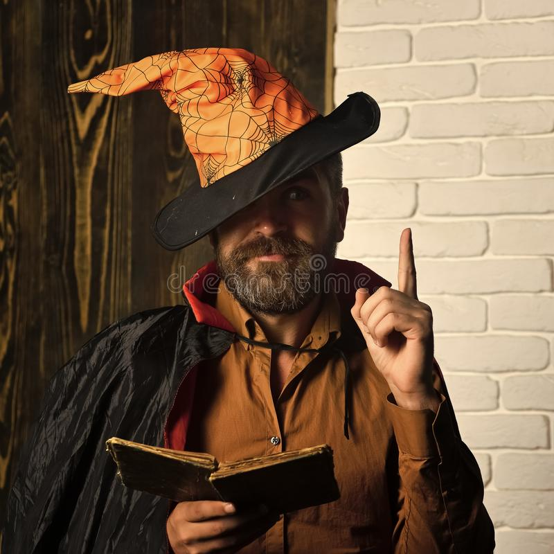 Halloween mystic story, manuscript, fairytale stock photography