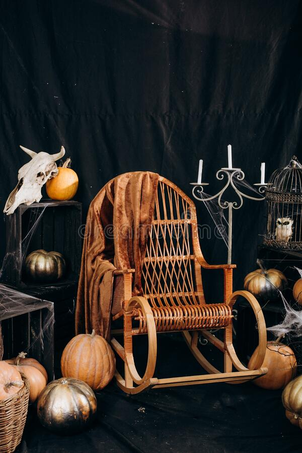 Halloween mystic witch skull spider web broom. Halloween mystic witch Astrology Occult Magic skull spider web broom royalty free stock images