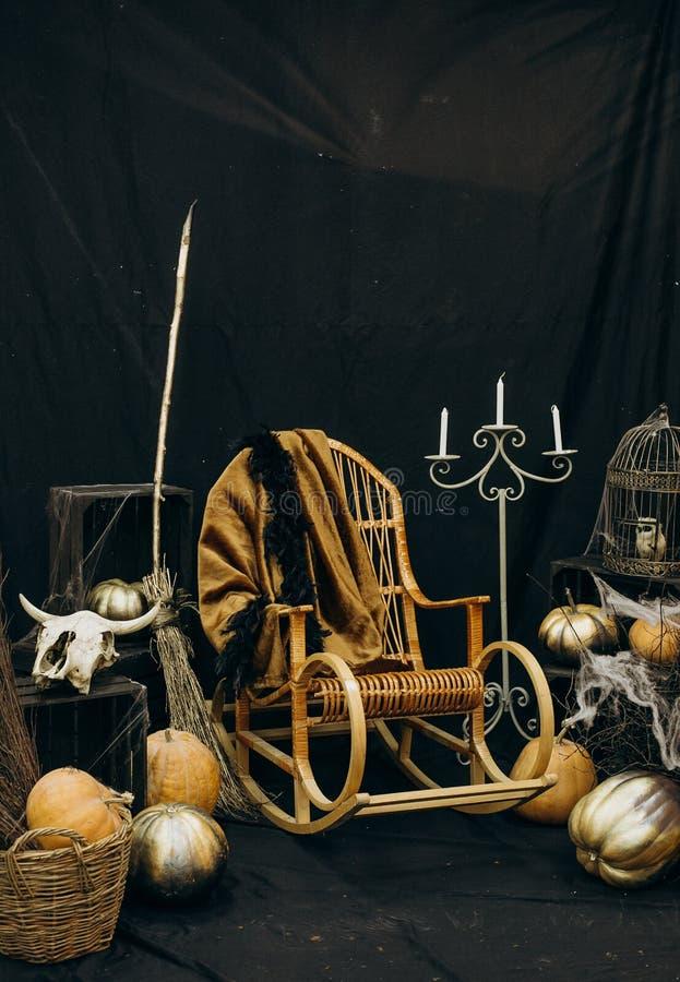 Halloween mystic witch skull spider web broom. Halloween mystic witch Astrology Occult Magic skull spider web broom stock photo