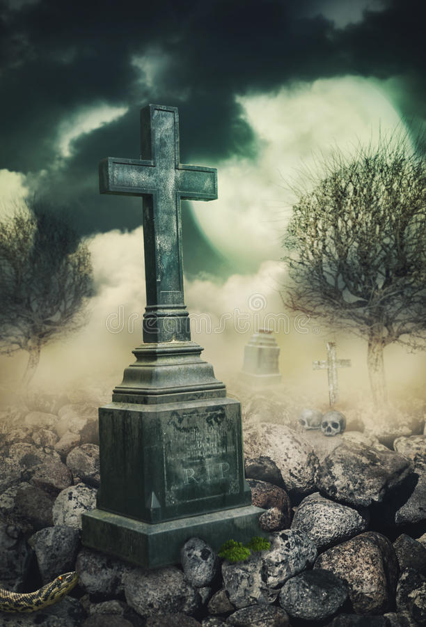 Halloween mystical background with cross at night. Halloween mystical spooky background with cross at night stock photo
