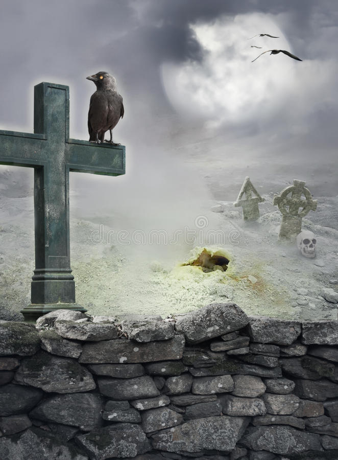Halloween mystical background with raven, cross on stone wall. Halloween mystical spooky background with raven, cross on the stone wall stock photo