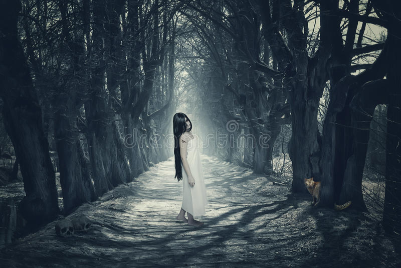 Halloween mystical forest with ghost royalty free stock photography