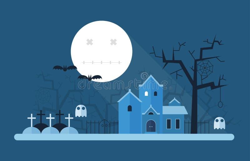 Halloween-Mysticuslandschap stock illustratie