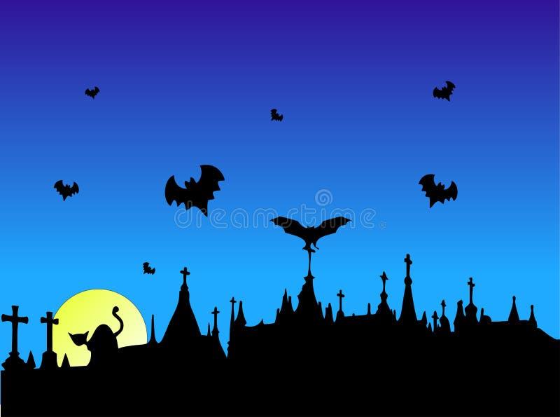 Halloween na cmentarz. ilustracji