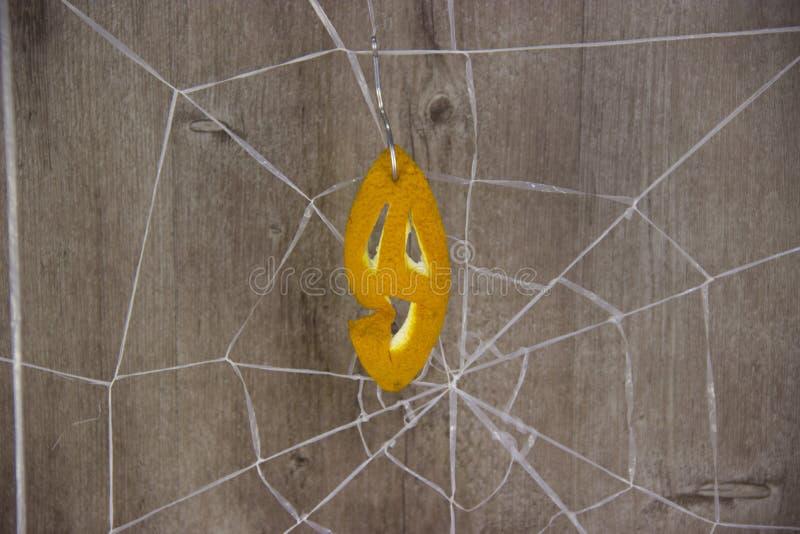 Halloween na drewnianym tle z pajęczynami fotografia stock