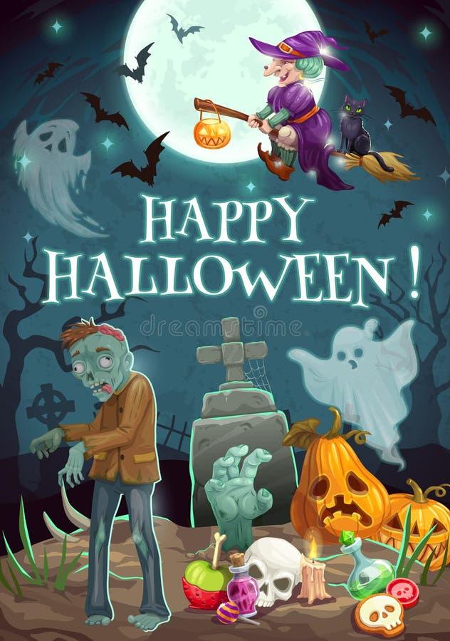 Halloween-Nacht, Friedhof Zombiegeister, Kürbis vektor abbildung