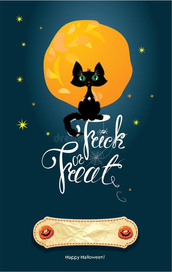 Halloween-Nacht: Katze auf Mond- und Himmelhintergrund C stock abbildung
