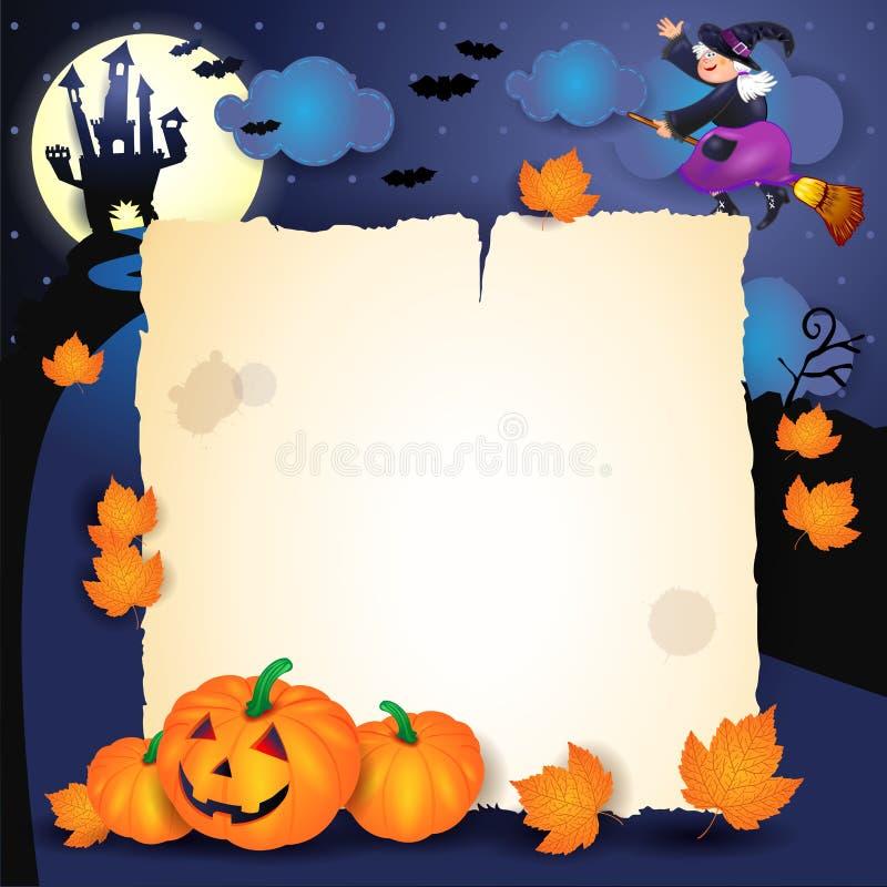 Halloween-Nacht mit Pergament, Kürbisen und alter Hexe lizenzfreie abbildung