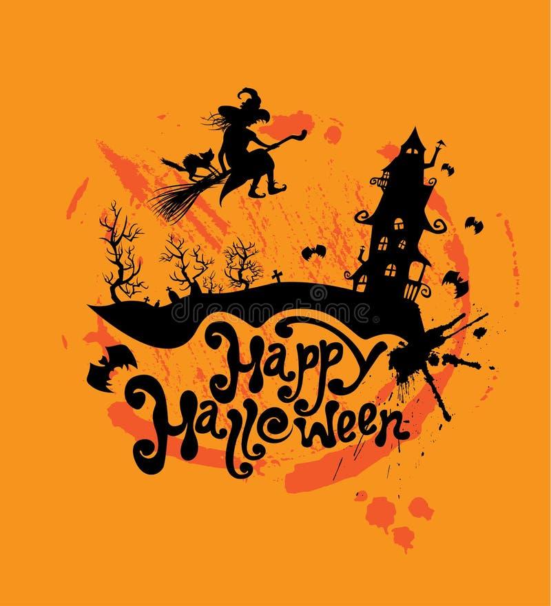 Halloween-Nacht: Schattenbild des Hexen- und Katzenfliegens auf Besen zu vektor abbildung