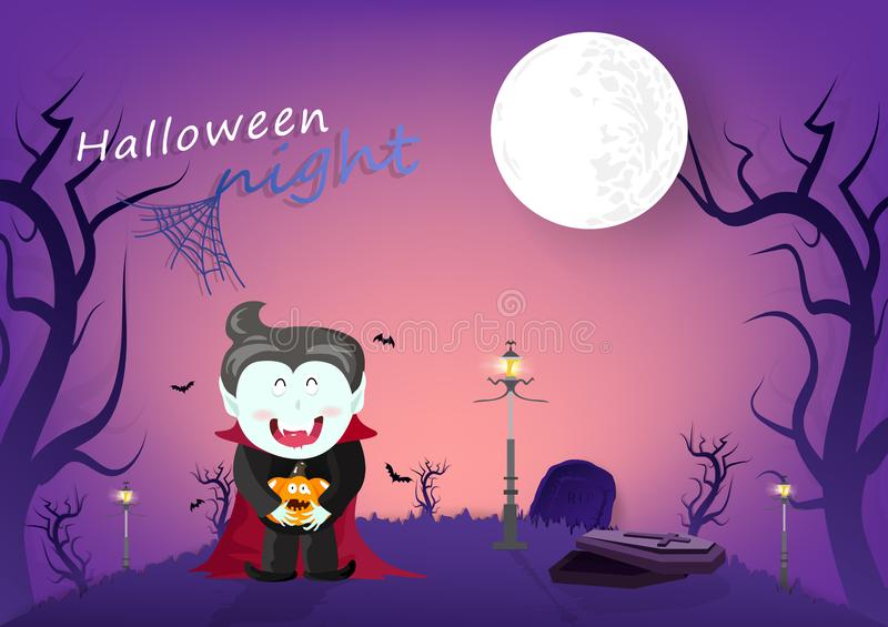 Halloween-nacht, vampier en knuppels in kerkhof donker bos, beeldverhaalkarakters, de kaart van de achtergrond uitnodigingsaffich vector illustratie