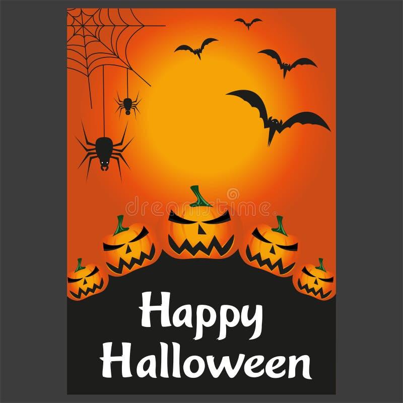Halloween-nachtachtergrond met griezelige kasteel en pompoenen, illustratie royalty-vrije stock fotografie