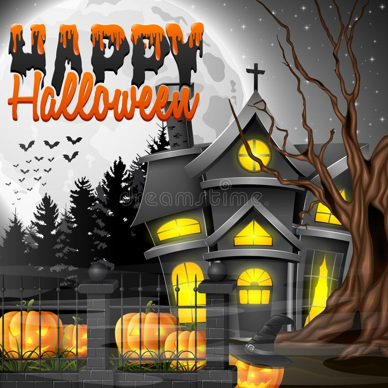 Halloween-nachtachtergrond met kerk en enge pompoenen royalty-vrije illustratie