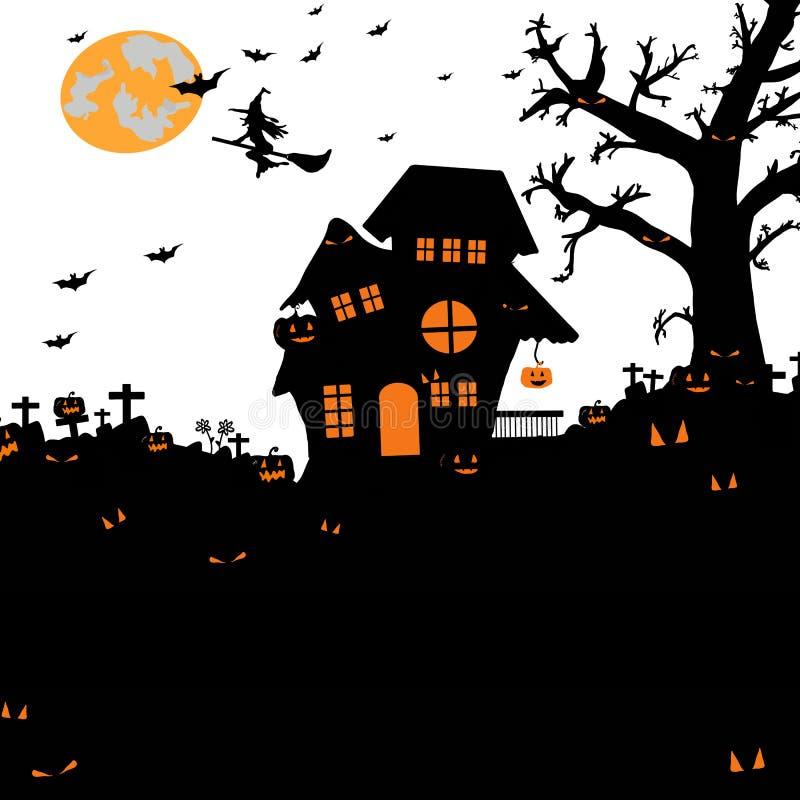 Halloween-nachtachtergrond met silhouet van naakte bomen, graf vector illustratie