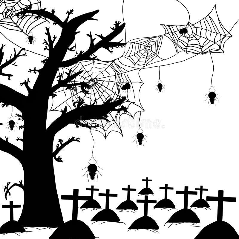 Halloween-nachtachtergrond met silhouet van naakte geïsoleerde bomen, spinneweb, hangend spin en graf stock illustratie