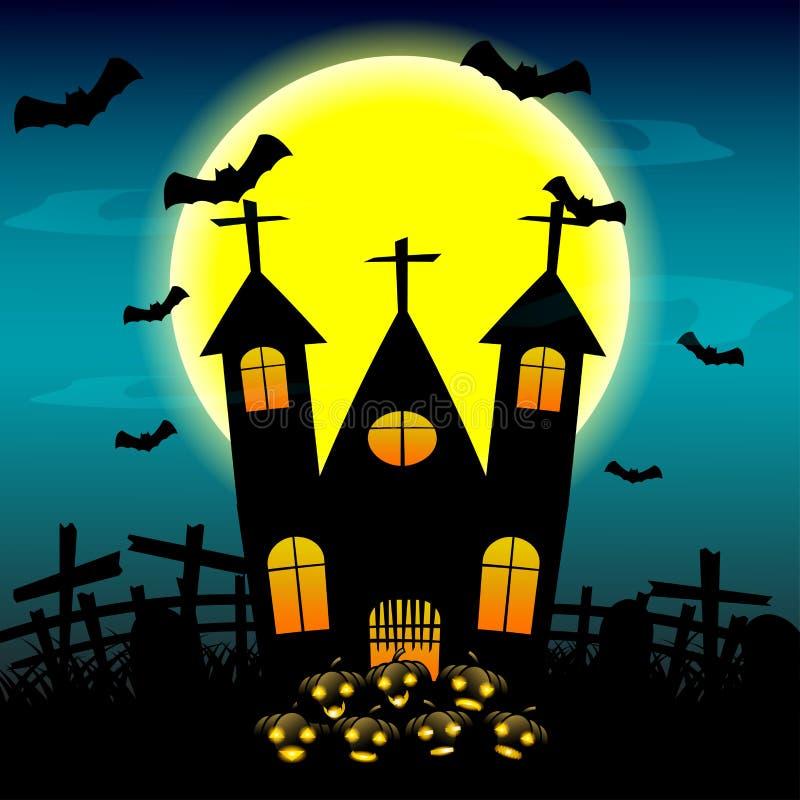 Halloween-nachtachtergrond met spookhuis en volle maan Vector illustratie stock illustratie