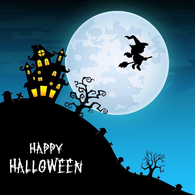 Halloween-nachtachtergrond met vliegende heks en kasteel op de volle maan royalty-vrije illustratie