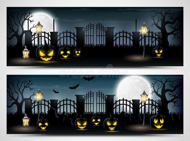 Halloween-Nachtfahnen mit furchtsamen Kürbisen lizenzfreie abbildung