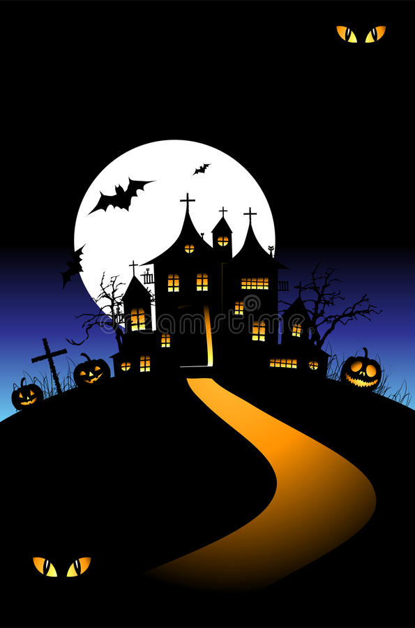 Halloween-Nachtfeiertag, Haus auf Hügel stock abbildung