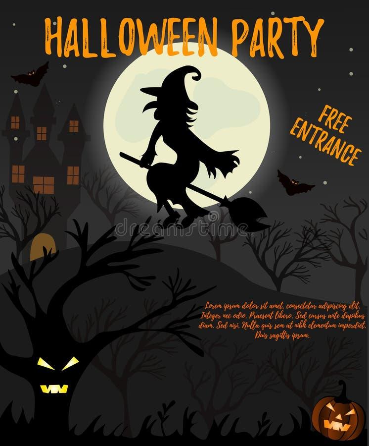 Download Halloween Nachthintergrund Mit Gruseligem Haus, Hexe, Bäumen Und  Kürbis Exklusive Schwarze Einladungskarte