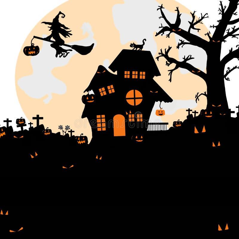 Halloween-Nachthintergrund mit Schattenbild von kahlen Bäumen, Grab lizenzfreie abbildung