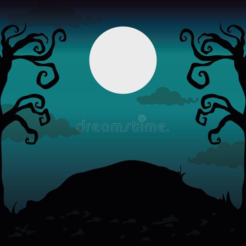 Halloween-nachtlandschap stock illustratie