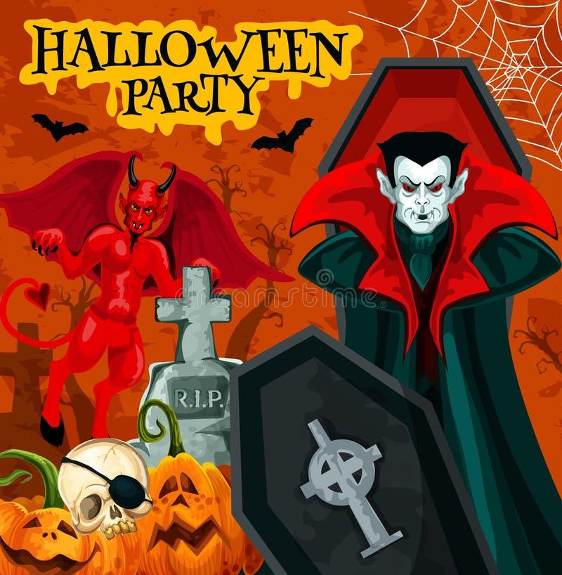 Halloween-Nachtparteiplakat mit Horrorvampir stock abbildung