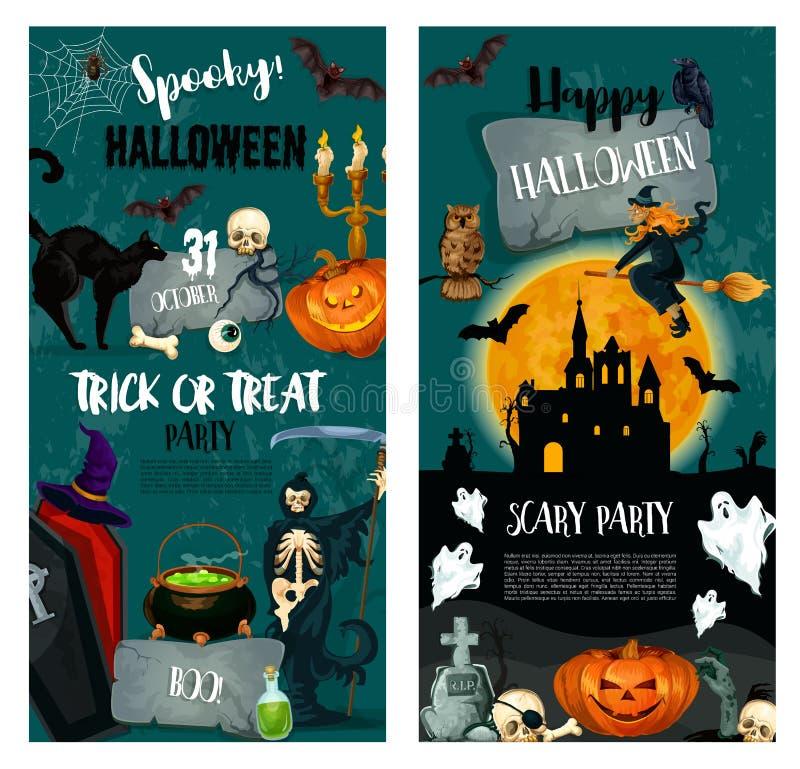 Halloween-Nachtsüßes sonst gibt's saures Partei-Plakatdesign vektor abbildung
