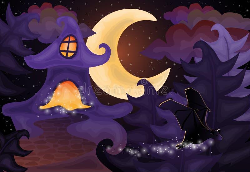 Halloween-Nachttapete mit Geisterhaus stock abbildung