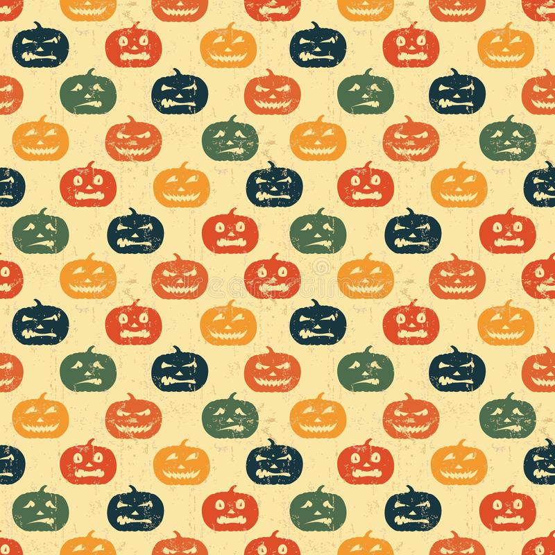 Halloween-nahtloser Hintergrund mit Kürbis. stock abbildung