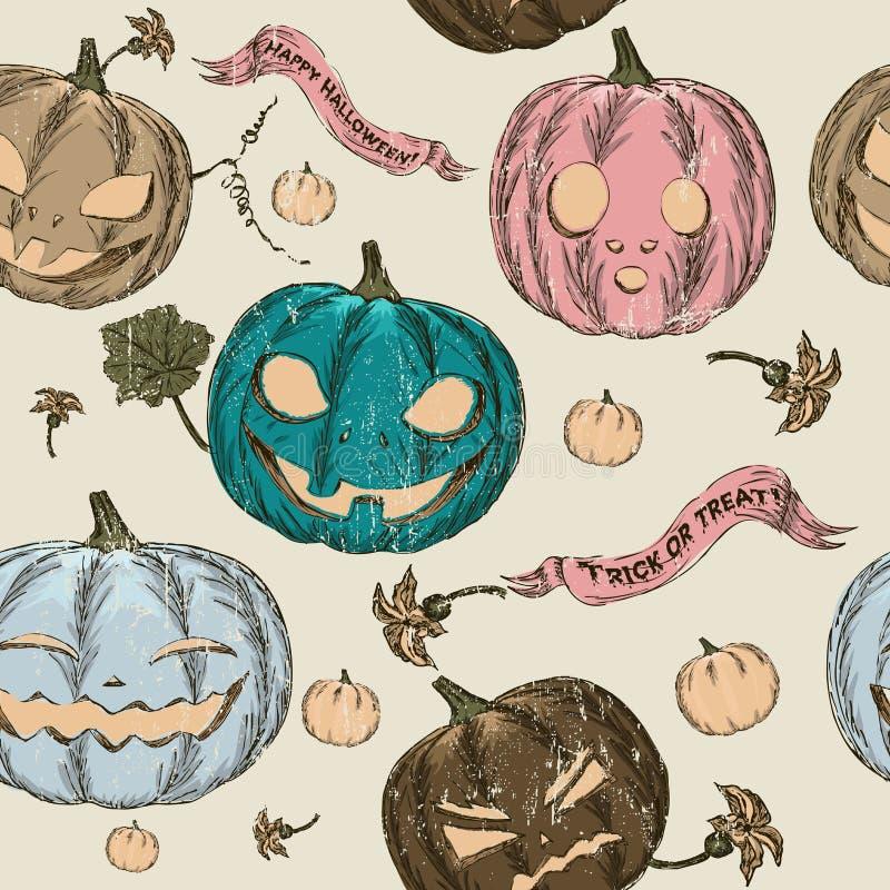 Halloween-nahtloser Hintergrund mit Kürbis. lizenzfreie abbildung