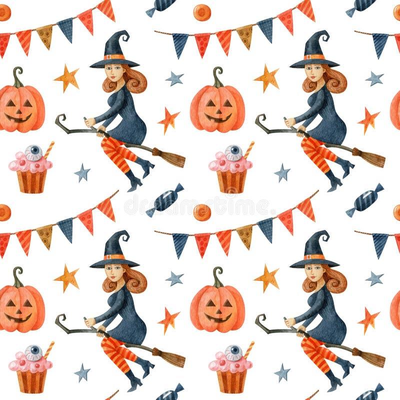 Halloween-nahtloses Muster mit Hexen, Kürbis, gruseligen Kuchen und Garland aus Flaggen lizenzfreies stockfoto