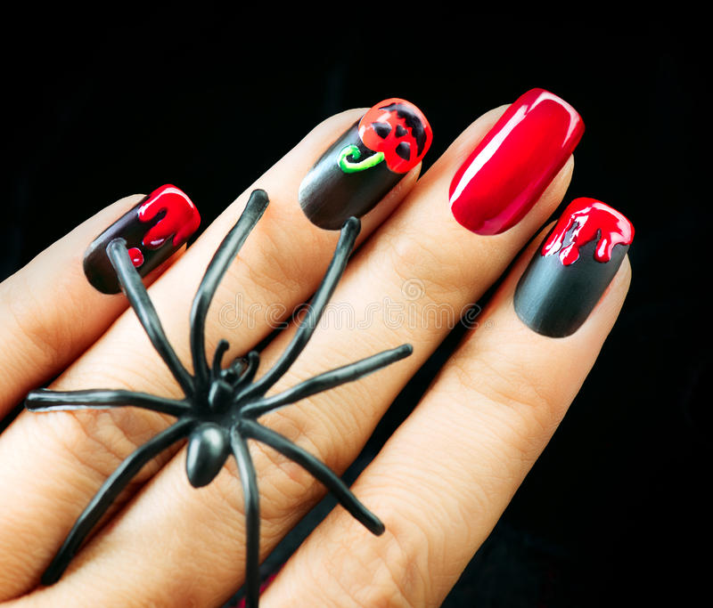 Halloween Nail Art Design. Black Matte Polish Stock Photo ...