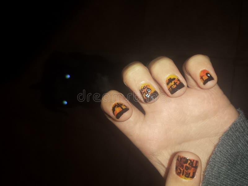Halloween nails stock photography
