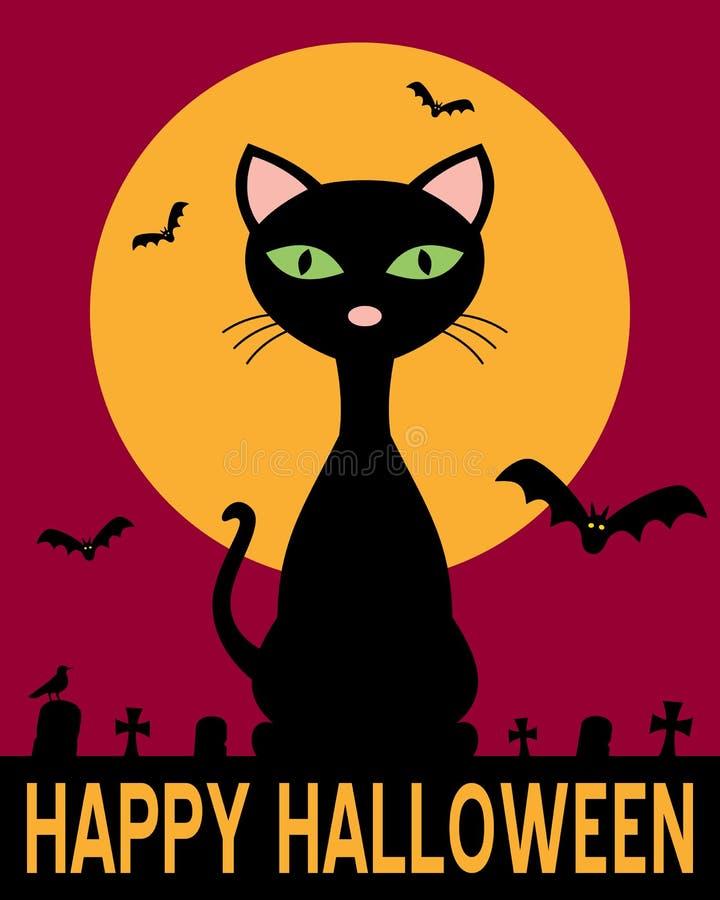 Halloween natt med den svarta katten stock illustrationer