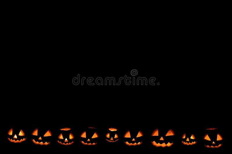 Halloween-neer gevestigd pompoenkader stock afbeeldingen