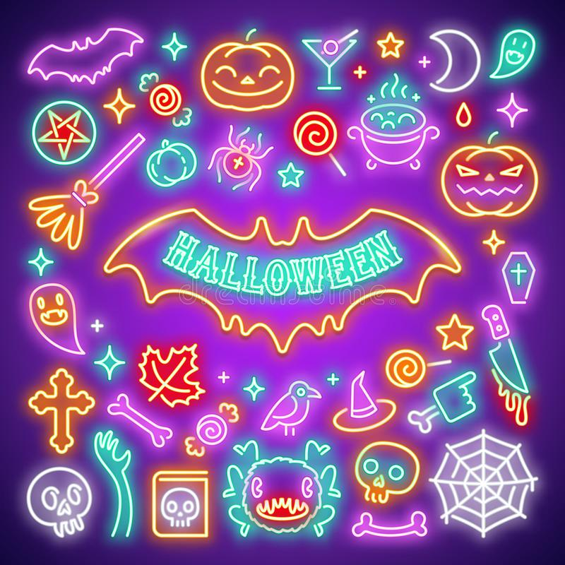 Halloween Neon Icons Set. Halloween neon symbols with zombie hands, bat shapes, ghosts, bones, skulls, spiders, candies and other icons. For creating greeting stock illustration