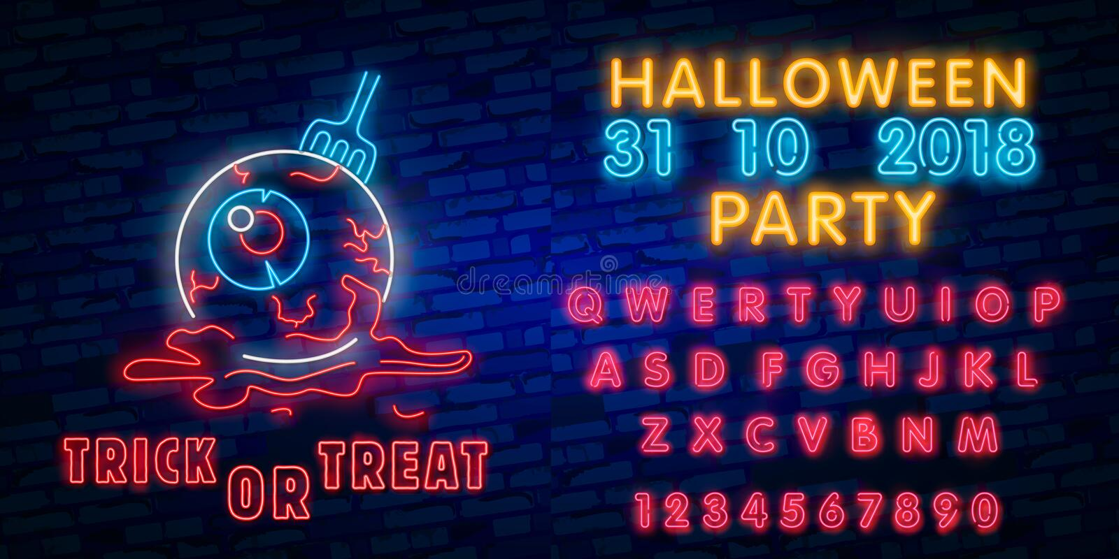 Halloween neon sign collection . Halloween Party Design template and web for banner, poster, greeting card, party invitation. Light banner vector illustration