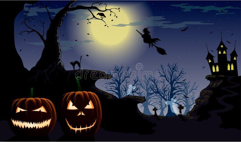 Halloween night. Spooky pumkins on the night of Halloween vector illustration
