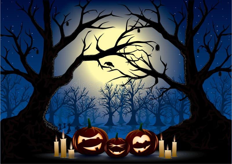 Halloween night. Funny pumpkins on a dark halloween night stock illustration